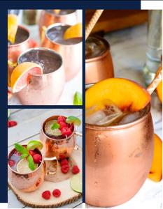 Fin Pallet cocktail Moscow mule dans verre en cuivre