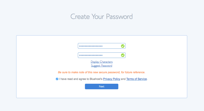how to start a blog - password 2