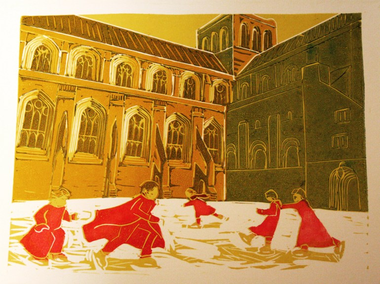 Winchester ice rink linocut partway through