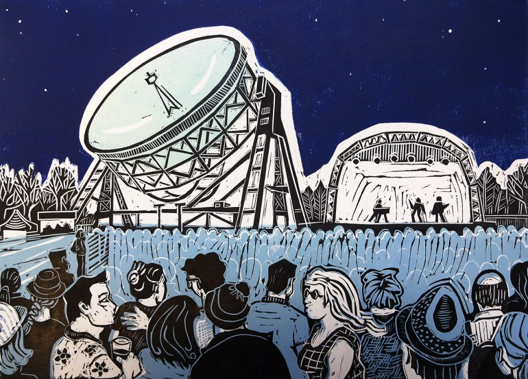 Linocut of Bluedot Festival at Jodrell Bank, image size approx. A3