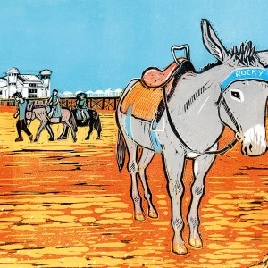 linocut image of a beach donkey with pier in background