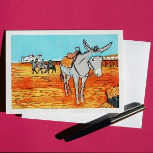 Beach donkey linocut print greetings card by Fiona Horan