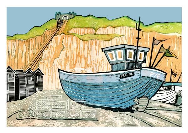 fishing boat at Hastings beach card