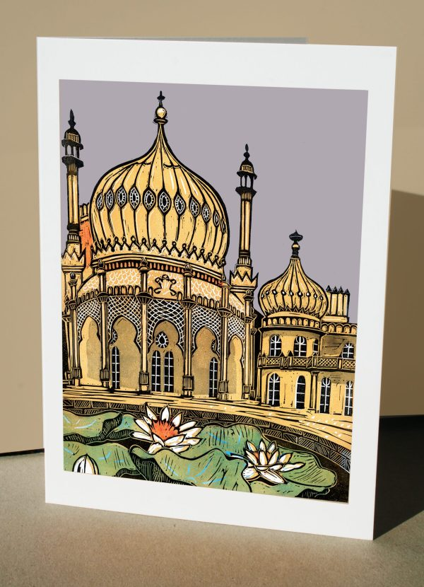 Greetings card of the Royal Pavilion Brighton and lily pond from an original linocut by Fiona Horan