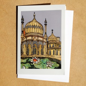Brighton Pavilion linocut greetings card with lillies