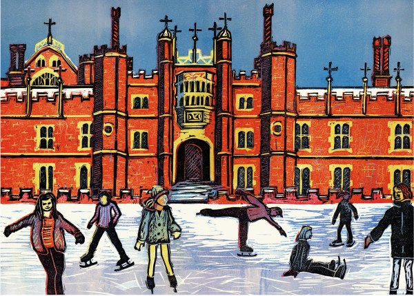 linocut by Fiona Horan of Hampton Court ice rink as a greetings card