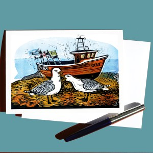 Fishing boat with two seagulls linocut greetings card
