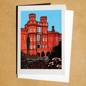 Herstmonceux Castle linocut as greetings card