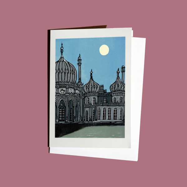 Brighton Royal Pavilion at night greetings card from original linocut