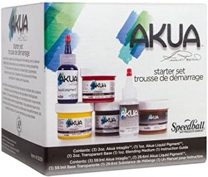 Starter set of Akua relief printmaking inks.