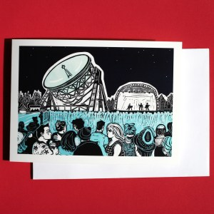 card and envelope with image showing a scene from the Bluedot Festival at Jodrell Bank created in linocut