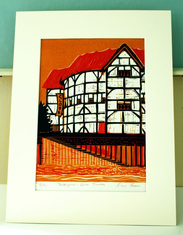 linocut of the reconstructed Shakespeare's Globe Theatre in London