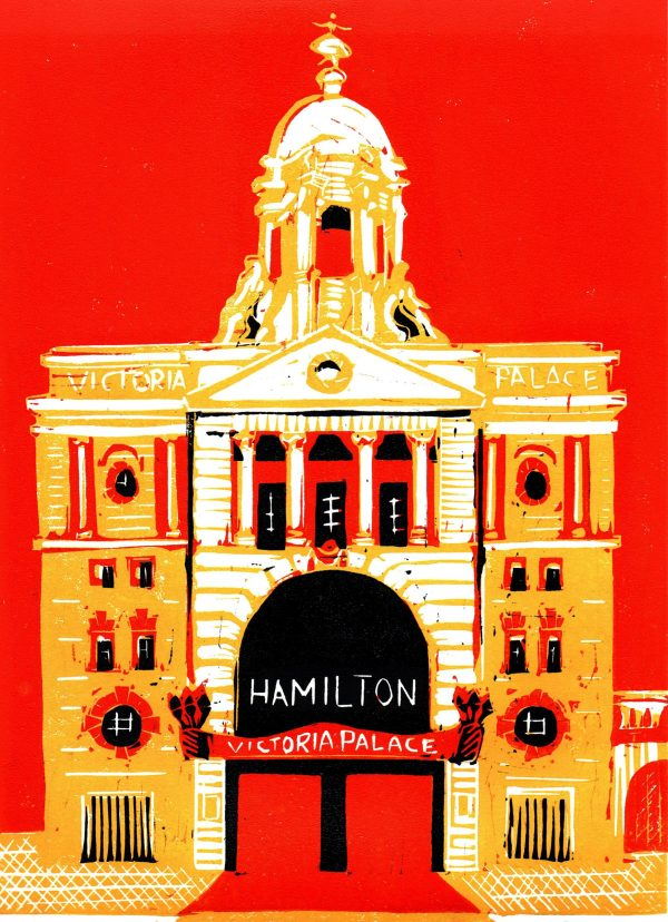 Victoria Palace Theatre linocut A4 orange sky