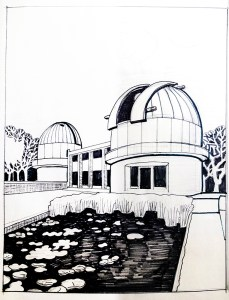 Preparatory drawing for Herstmonceux Observatory linocut by Fiona Horan
