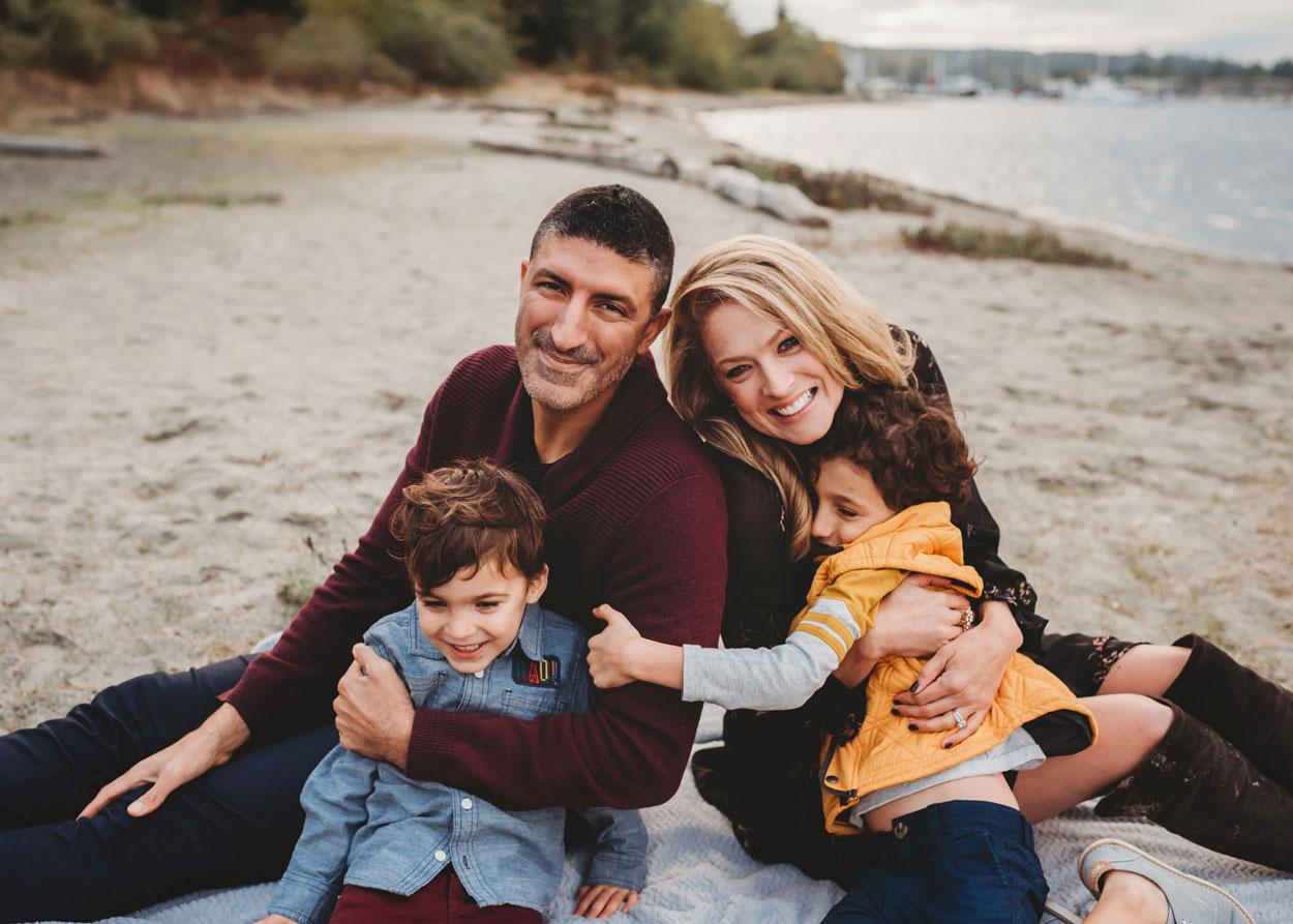 Snuggly fall family on Bainbridge Island
