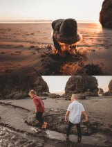 kids adventuring at ruby beach washington