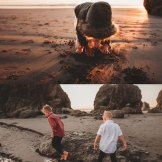 kids adventuring at ruby beach washington
