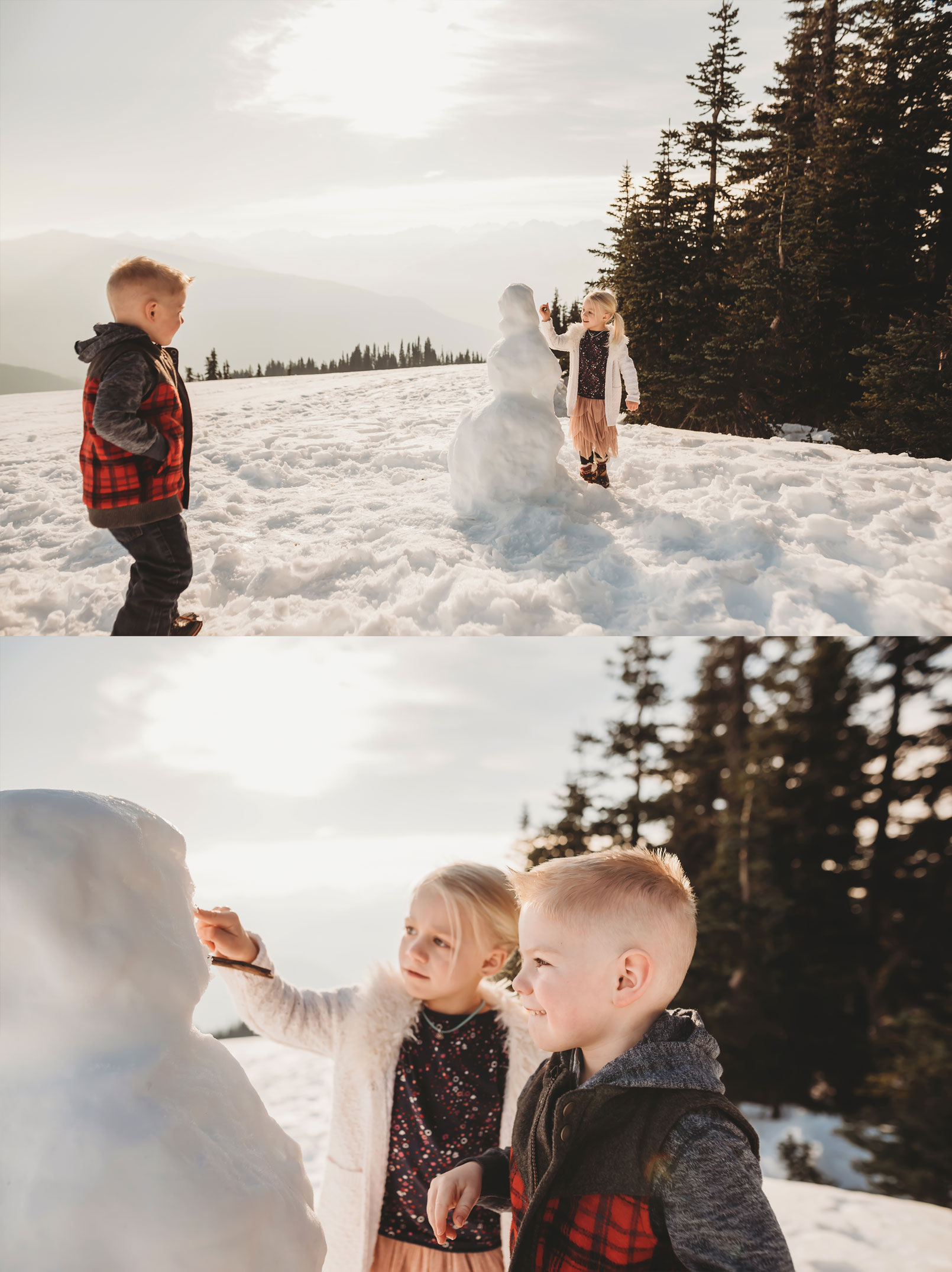 kids build a snowman at Hurricane Ridge