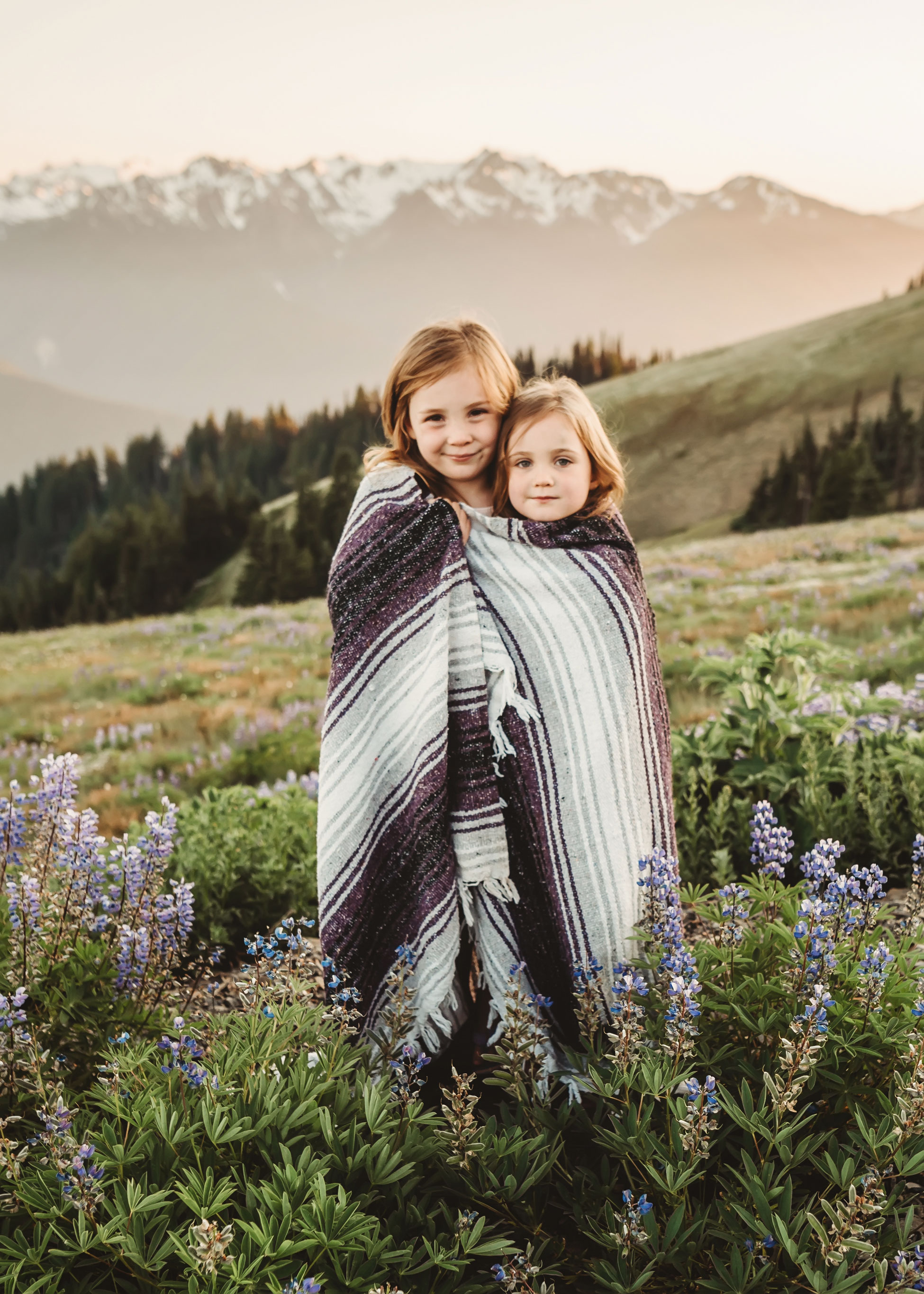 two girls up in mountain photography session