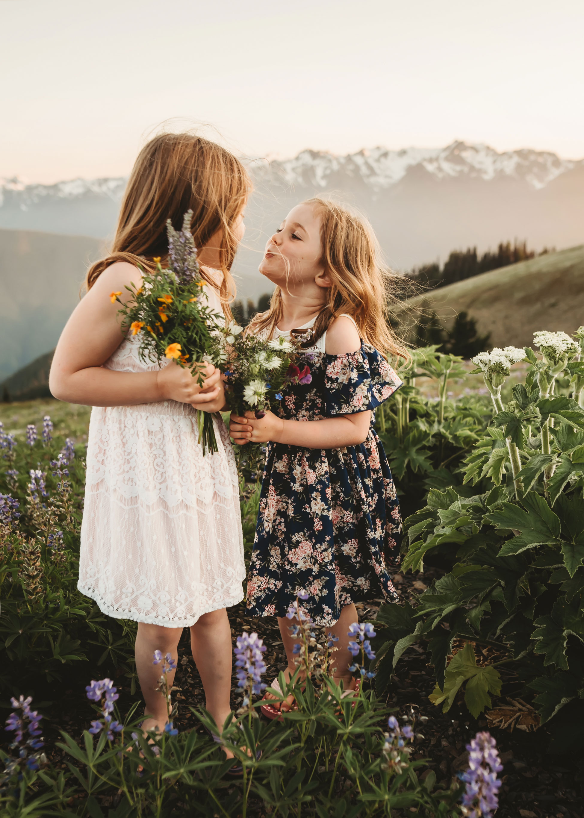 beautiful sisters in the mountains near seattle