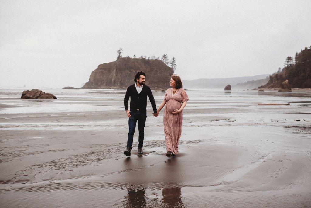 couple walking along ruby beach