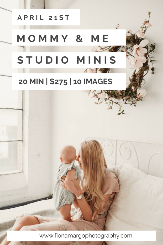 Mommy and me sessions in seattle studio with flowers