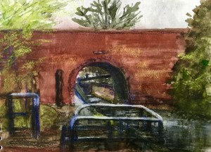 Canal bridge, Wolverhampton,  watercolour & pastel