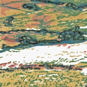 Fieldwork 1, 10x10cm, 2016, multi-layer reduction linocut