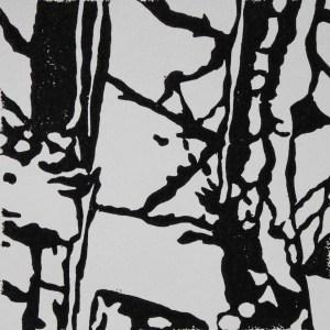 reflections2, 2015, 10 x 10 cm; linocut