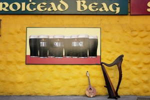 Fionnuala and Daveys instruments outside An Droichead pub in Kerry