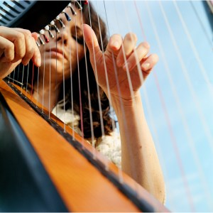 Harp playing from Whispers album sleeve