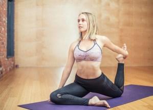 blonde girl doing yoga