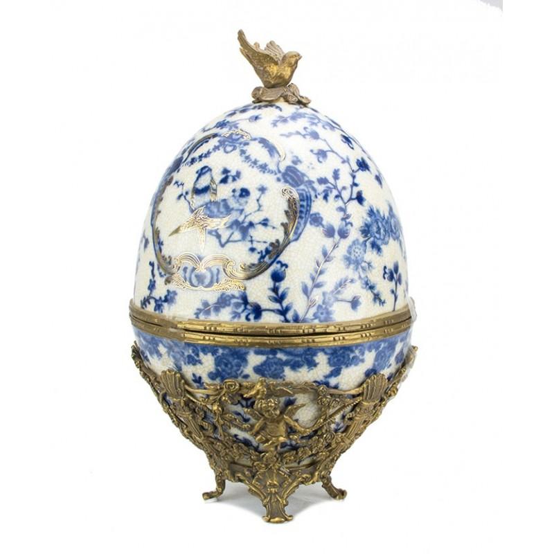 Uovo pasquale in ceramica di caltagirone. Uovo In Porcellana E Bronzo Lavorato Fiori E Foglie