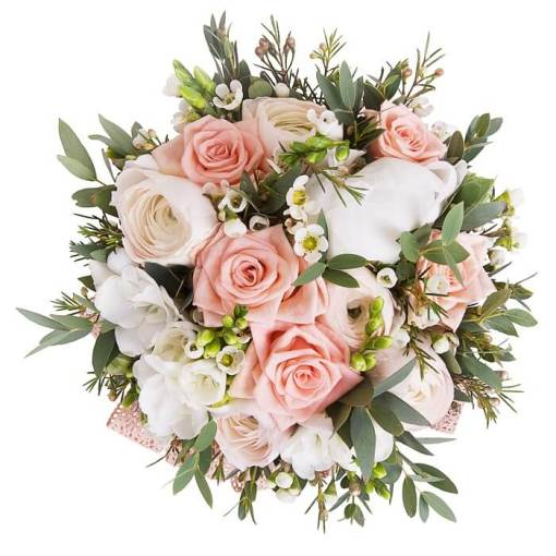 bouquet primavera rotondo con ranuncoli e fresia