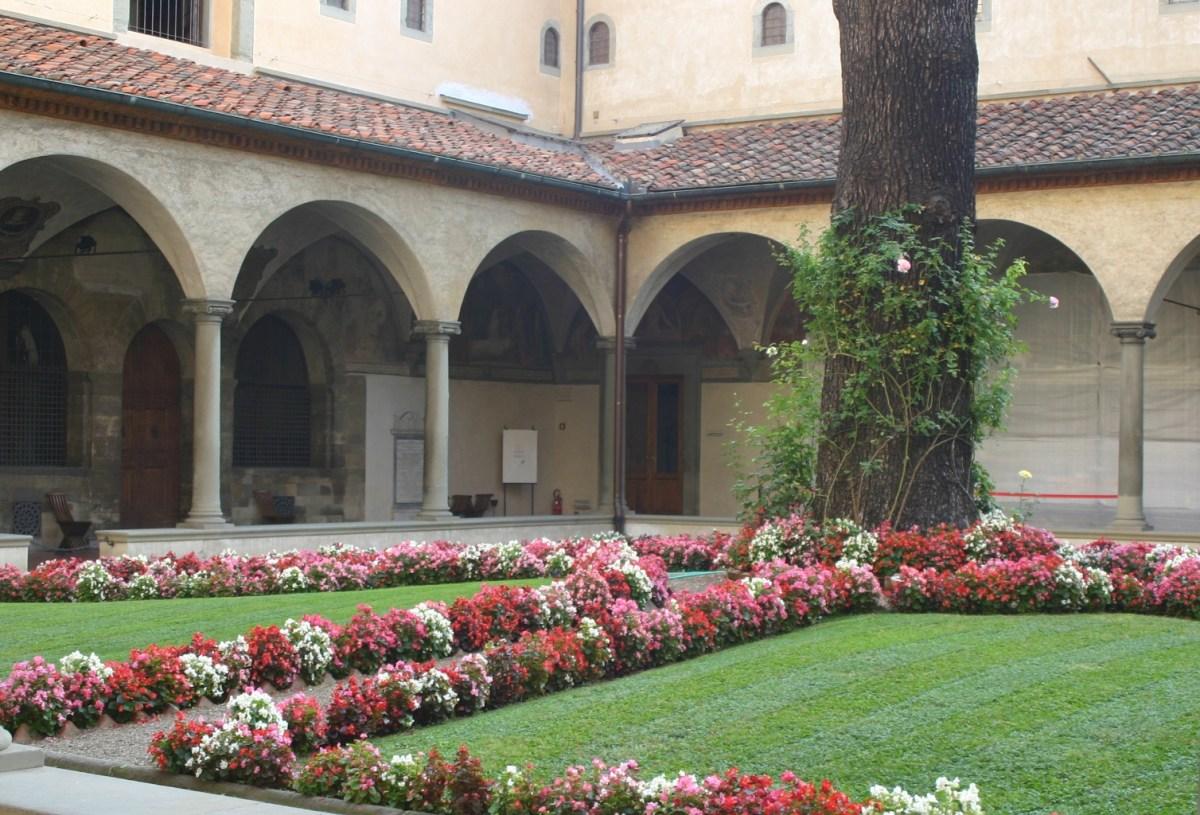 Allestimento di begonie in San Marco a Firenze