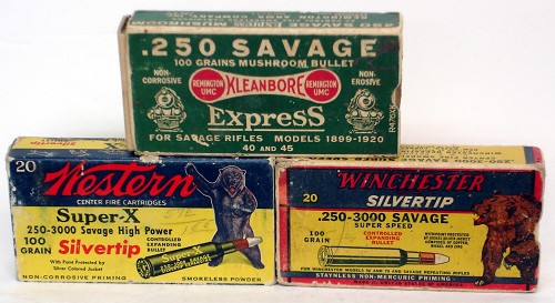 In the 1930's and 40's the Savage cartridge was highly regarded. Early Winchester boxes were adorned with grizzly bears! Testament to the popularity the cartridge had received.