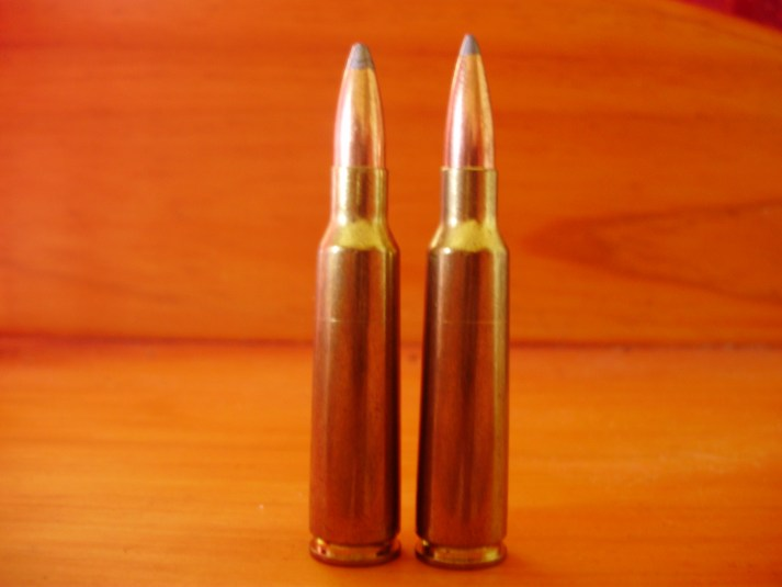 The .250-3000 Savage. Cartridge on left is loaded with an 87-gr Speer Hot-Cor, right cartridge has 100-gr Nosler Partition. These loads would work fine for practically all small and medium game hunting requirements.