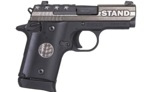 """SIG SAUER, Inc. introduces a special edition of its venerable P938 platform designed to honor America and our flag, as well as show support for our nation's veterans and first responders who protect and defend our freedoms every day. SIG SAUER, Inc. introduces a special edition of its venerable P938 platform designed to honor America and our flag, as well as show support for our nation's veterans and first responders who protect and defend our freedoms every day. Made with pride in Newington, NH, the 9mm P938 STAND has a slide engraved in the likeness of the American flag with the word """"STAND"""" boldly displayed on the ejection port side of the gun. It also has custom black grips featuring a medallion embossed with a flag in flight. SIG SAUER teamed up with United Sporting Companies to offer this unique firearm and to donate a portion of the proceeds from the sales to H.A.V.A. (Honored American Veterans Afield), which works with wounded veterans and active-duty military, and C.O.P.S. (Concerns of Police Survivors), which helps support the families of fallen law enforcement officers."""