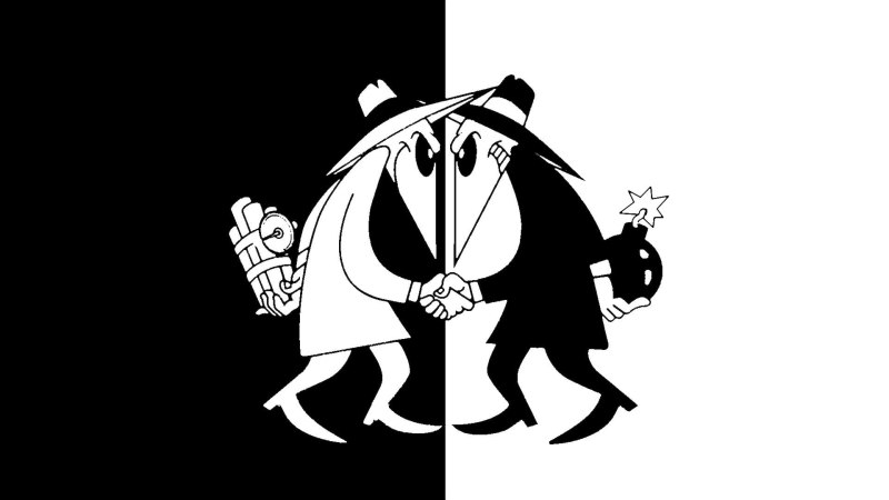 Image depicts the classic spy vs spy comic as representing white hat SEO vs black hat SEO techniques