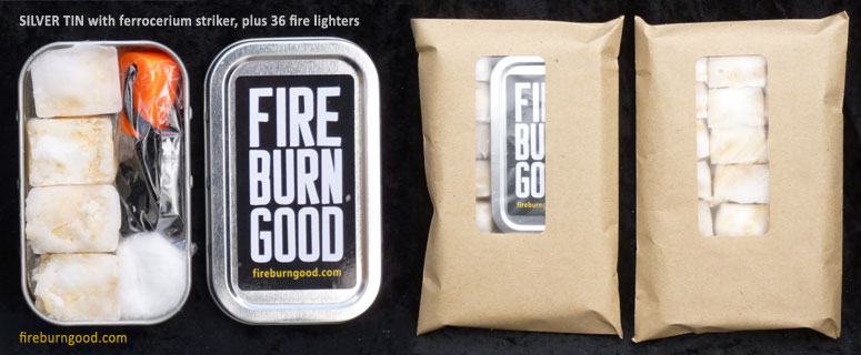 Fire Lighting Kit with silver tin