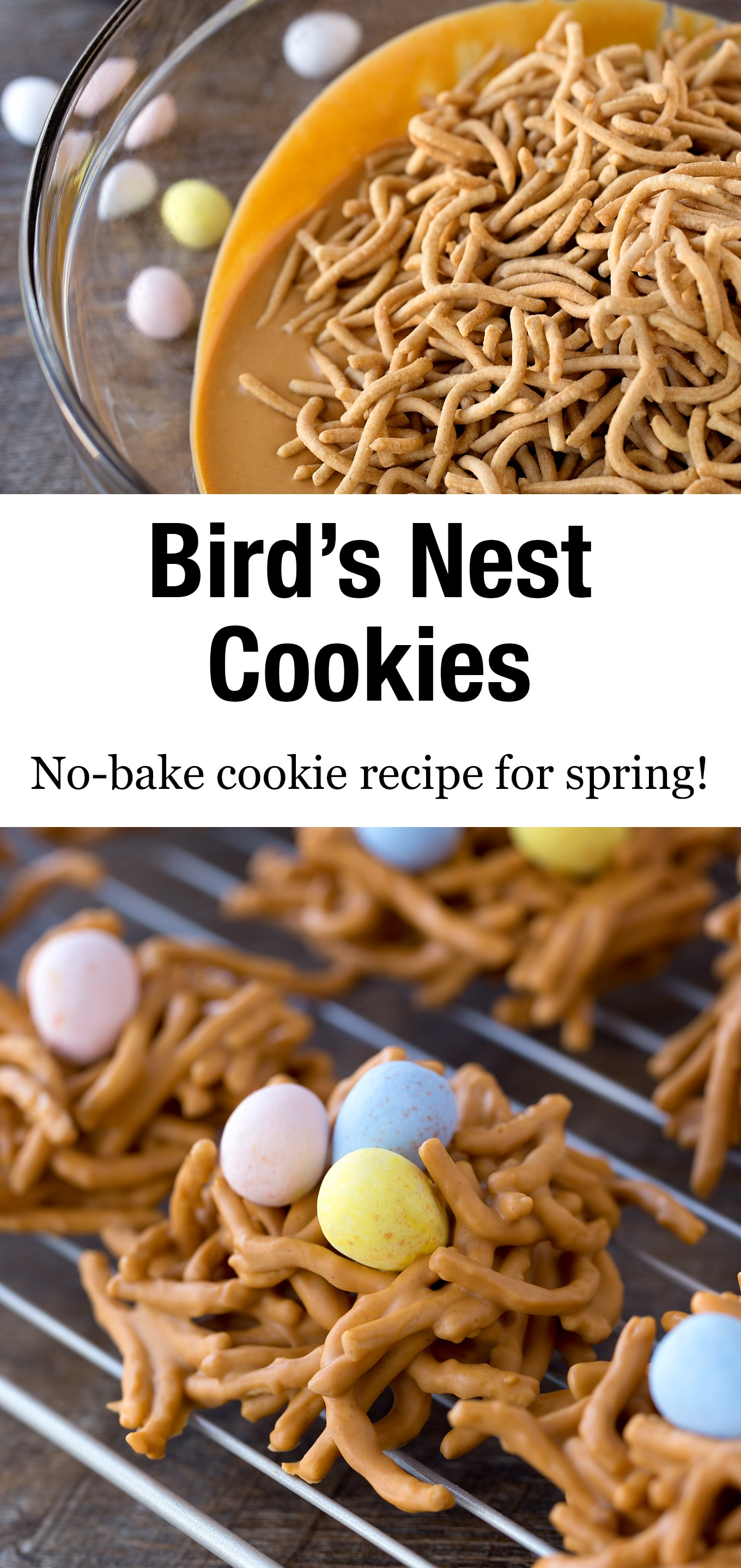 No-bake Bird's Nest Cookies,commonly known as Haystacks,are given a nest-inspired twist when decorated with creamy chocolate eggs. #birdsnestcookies #nobake #chowmein #cookierecipes via @firefliesandmudpies