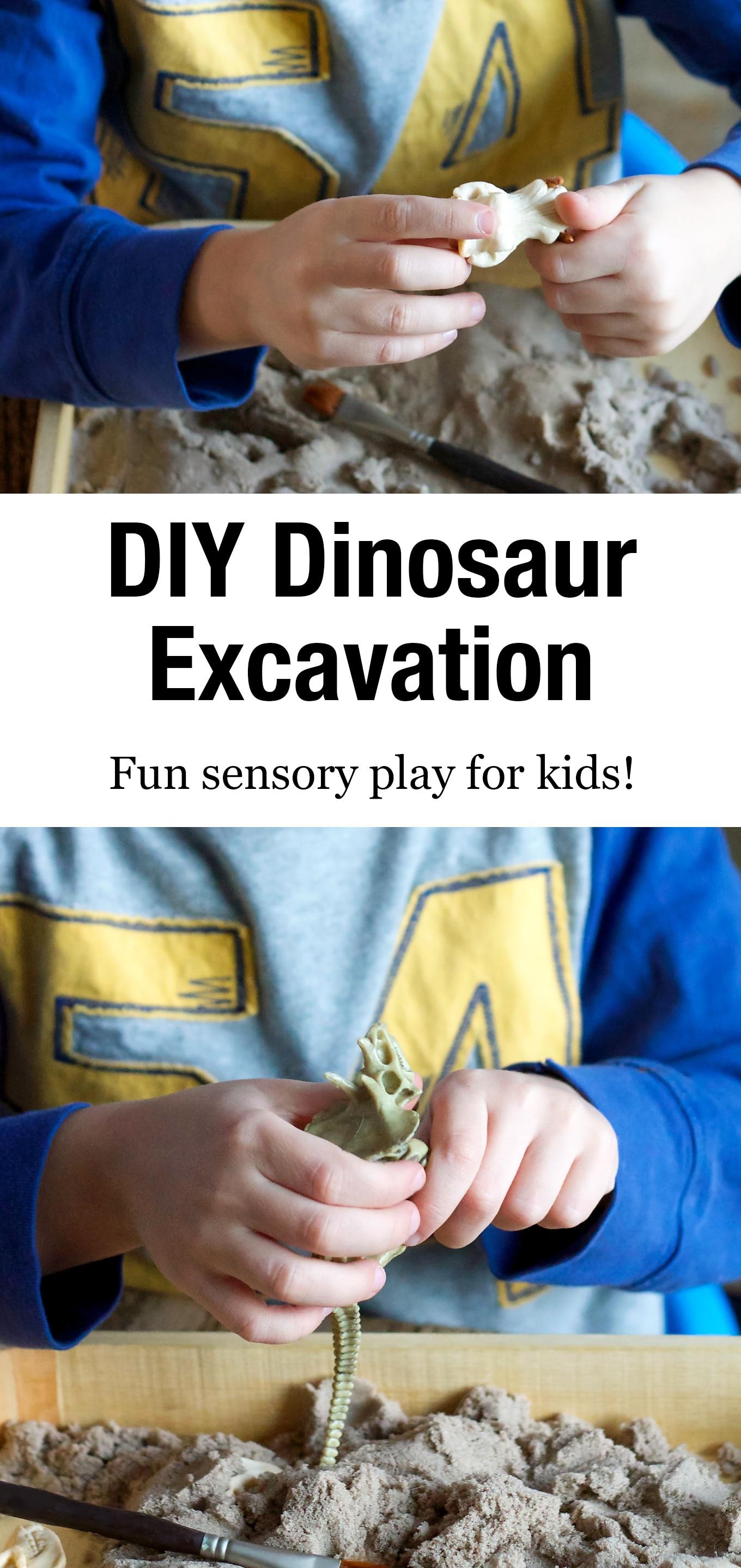 Learn how to make a DIYDinosaur Dig sensory bin for your pint-sized paleontologist! It's an easy and fun way for kids to learn about dinosaurs. #dinosaurdig #sensorybin #preschool #kidsactivities via @firefliesandmudpies