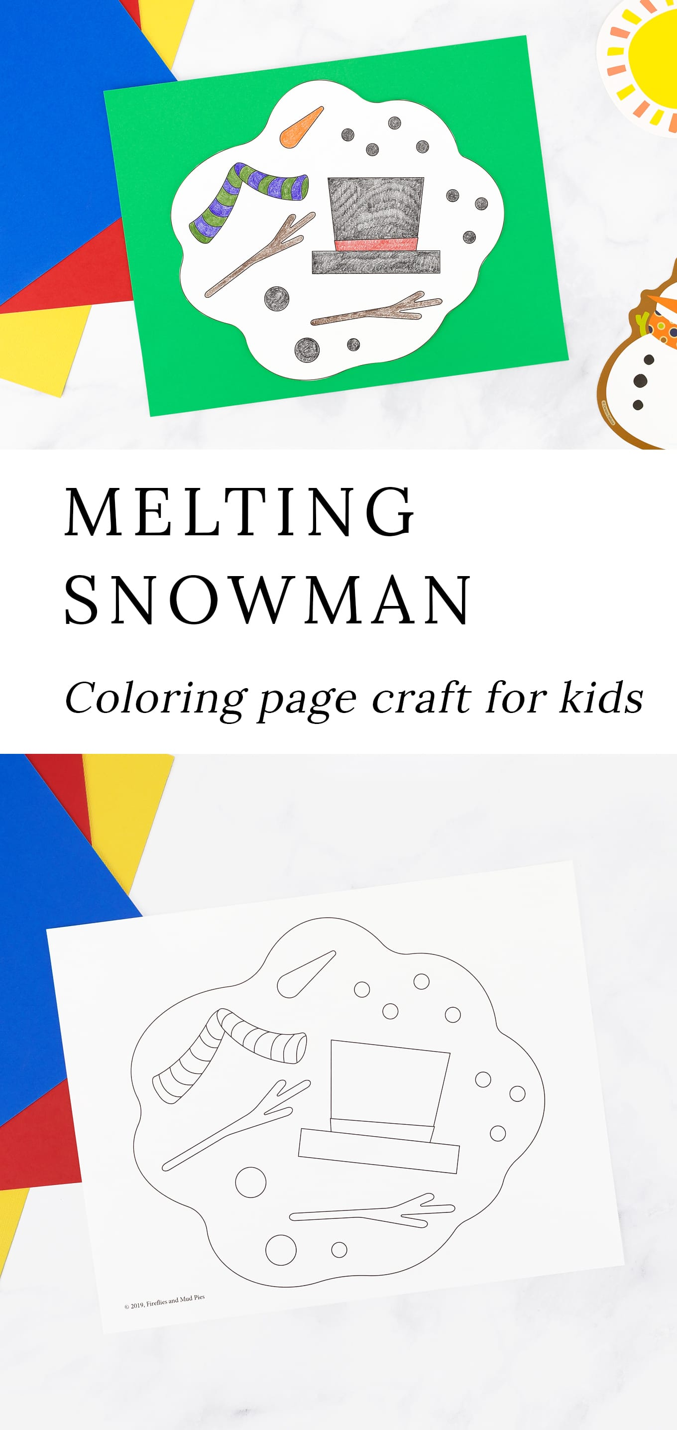 This free printable Melting Snowman Coloring Page for kids is perfect for home, school, or community programs, such as library storytime. It's the perfect coloring page for the late winter cycle of melting and fresh snow! Pair this craft with books about winter or spring, a melting snowman writing prompt, or searching for signs of spring on a late winter nature walk. via @firefliesandmudpies