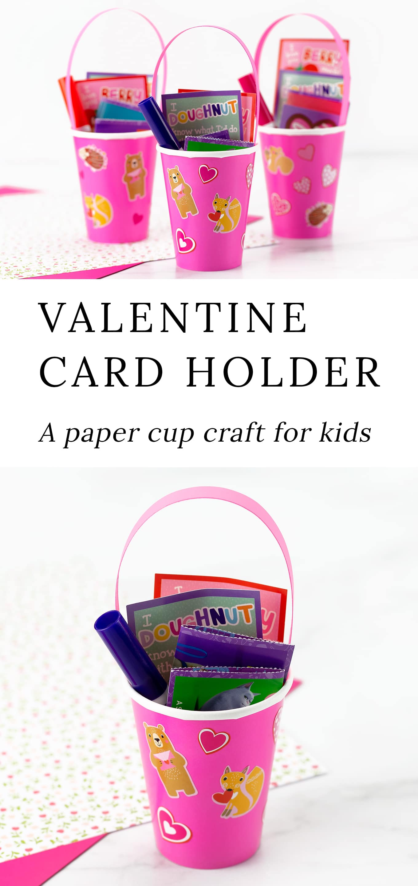 This easy, inexpensive, and cute Paper Cup Valentine Card Holder craft is perfect for holding treats at school parties, community programs, and home. Fun for ages 2 and up! via @firefliesandmudpies