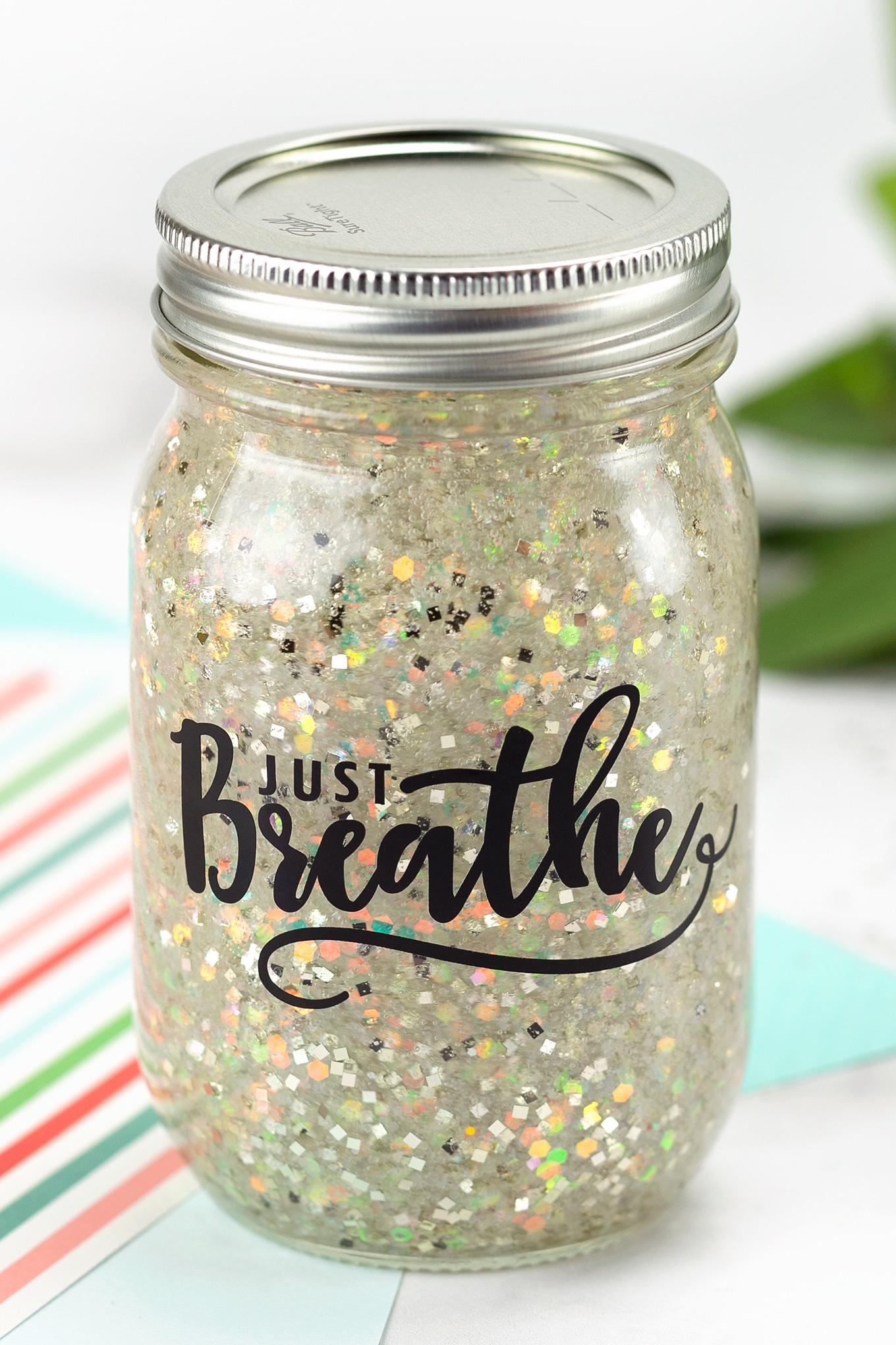 Just Breathe Cricut Jar