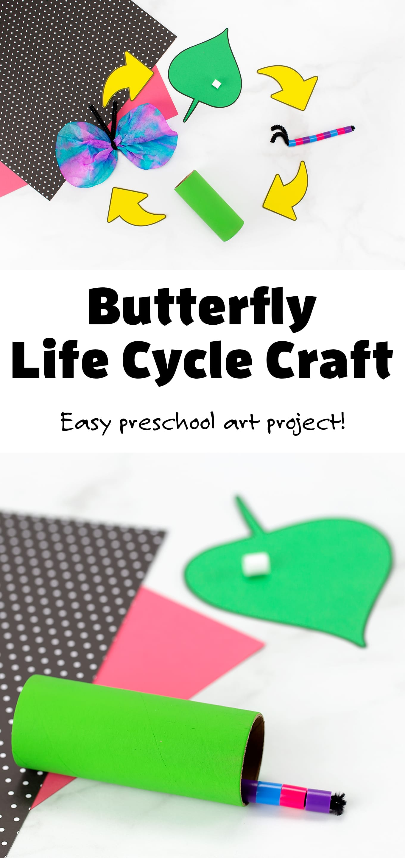 Through this interactive Butterfly Life Cycle Craft, kids will create and demonstrate the 4 simple stages of a butterfly's life cycle: egg, caterpillar, pupa, and adult. With two free printable templates, it's the perfect educational art project for preschool or kindergarten. #butterflylifecycle #butterflylifecyclecraft #butterflycraft #preschool #kindergarten #butterflyscience via @firefliesandmudpies
