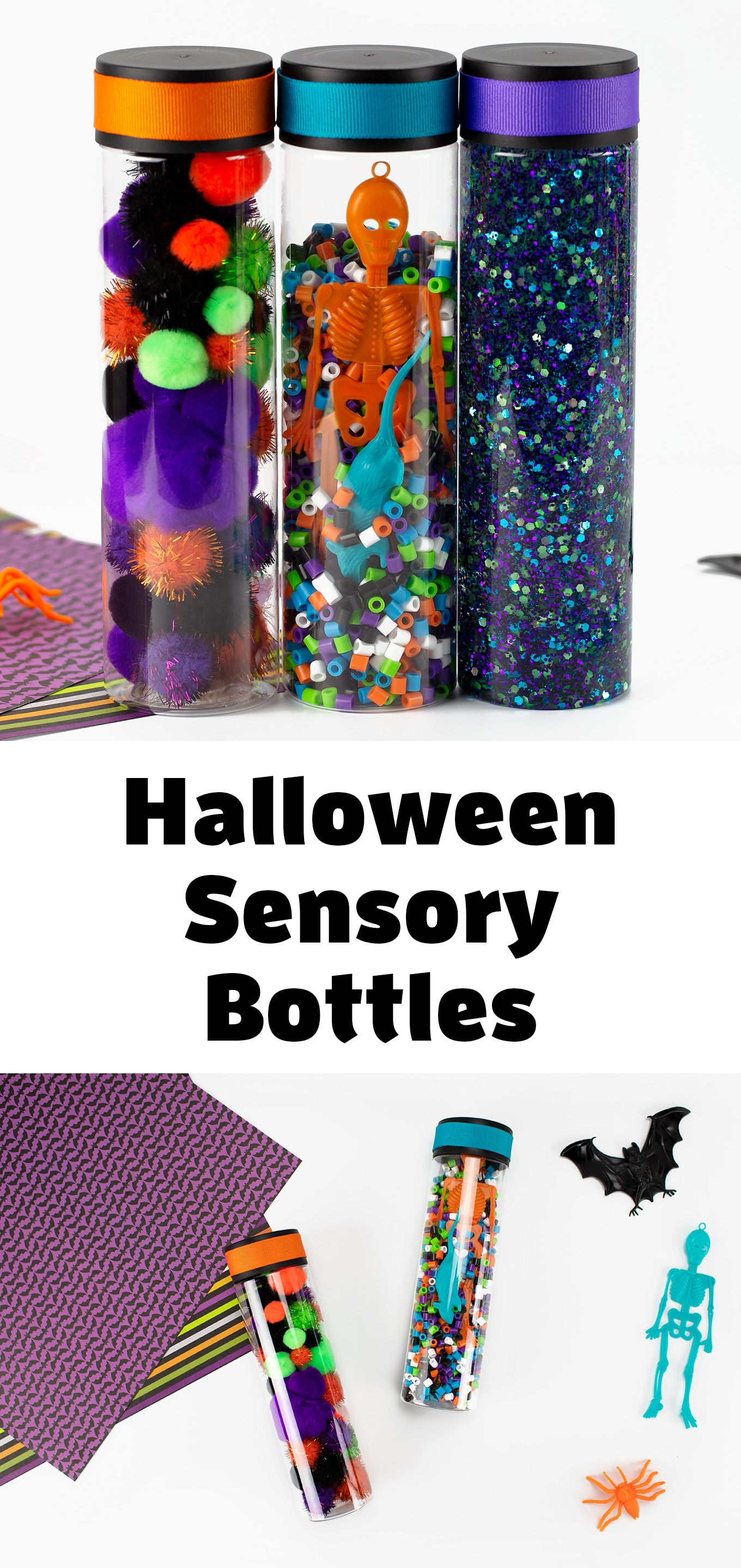October is the perfect month to make DIY sensory bottles for kids! Our set of 3 Halloween Sensory Bottles is colorful, engaging, and fun! #firefliesandmudpies #halloweensensorybottles #preschool #kids #diy #toddlers via @firefliesandmudpies