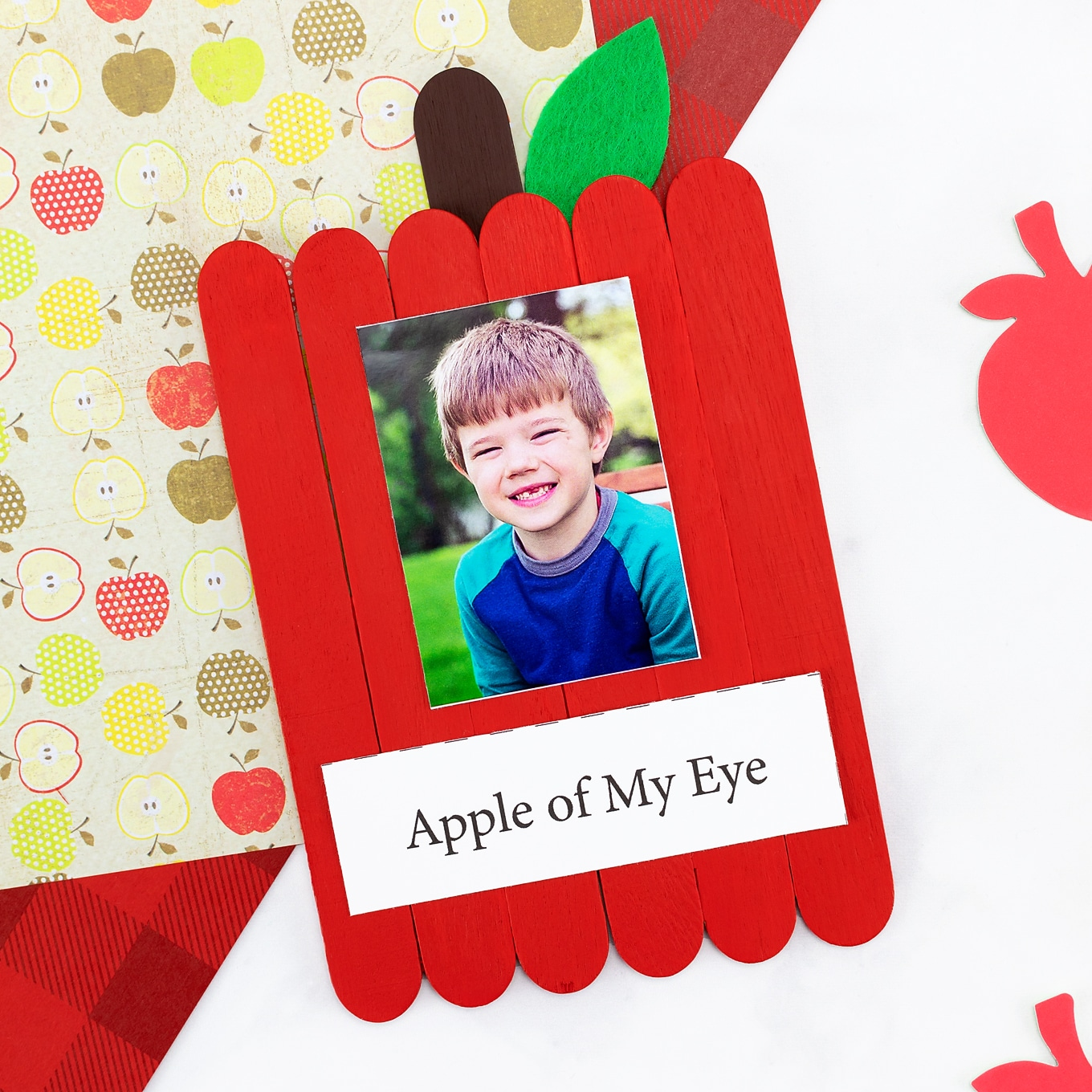 Popsicle Stick Apple Keepsake