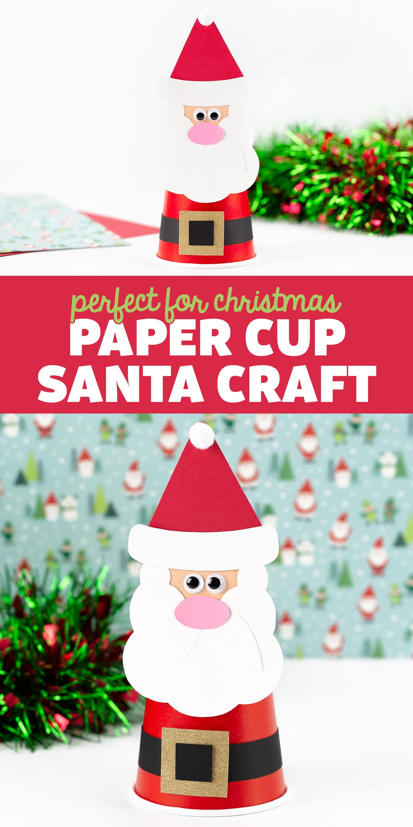 Paper Cup Santa Craft - This festive Paper CupSanta Craftincludes a free printable template, making it easy and fun for kids of all ages! via @firefliesandmudpies