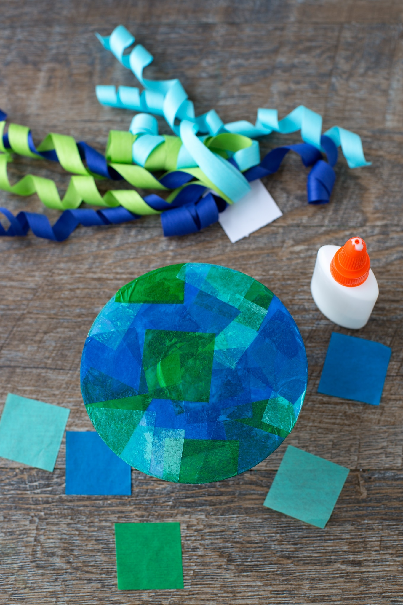 Tissue Paper Jellyfish Craft In-Process